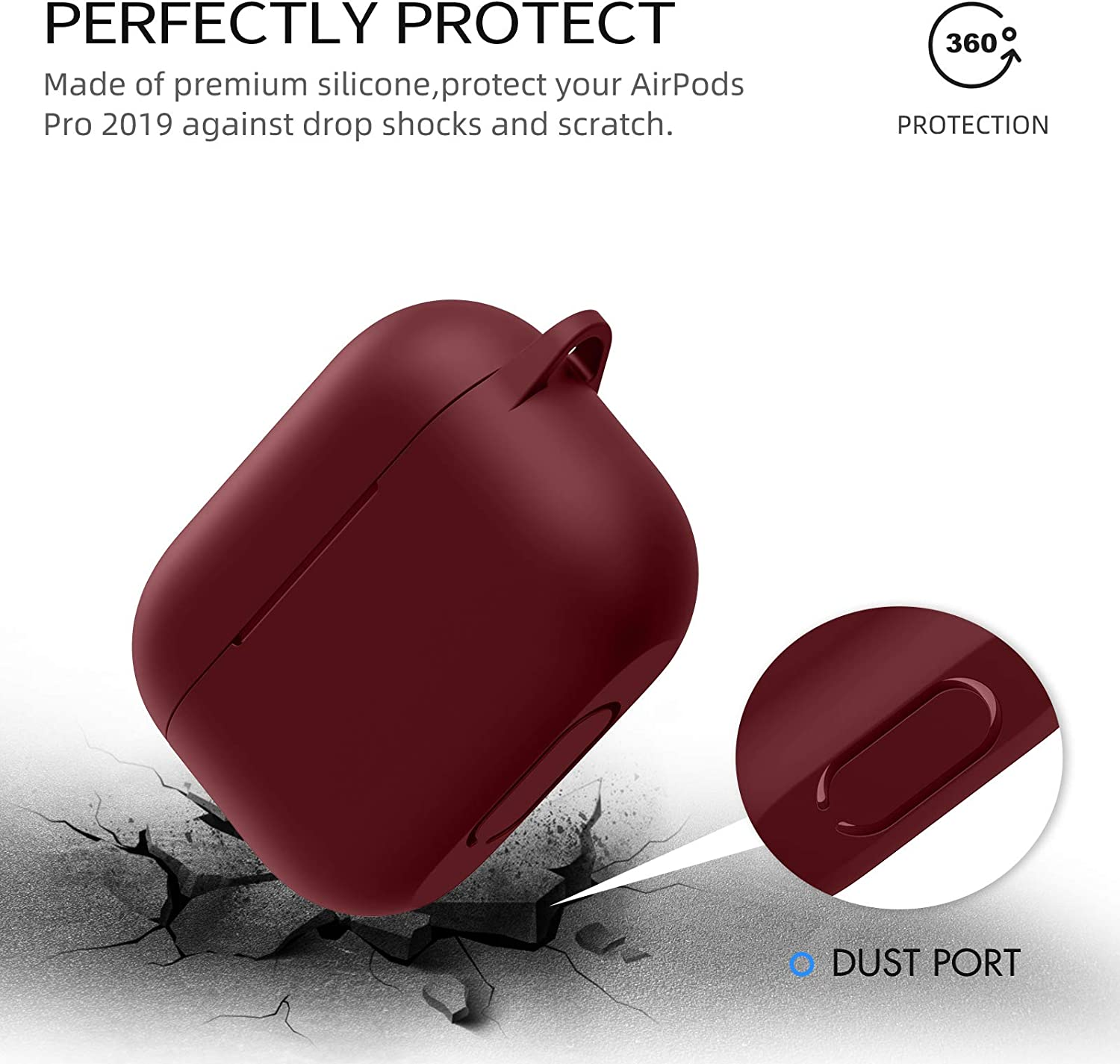 Protective Silicone Cover with Keychain Compatible with Apple AirPods Pro AirPods Pro Case - Burgundy Front LED Visible