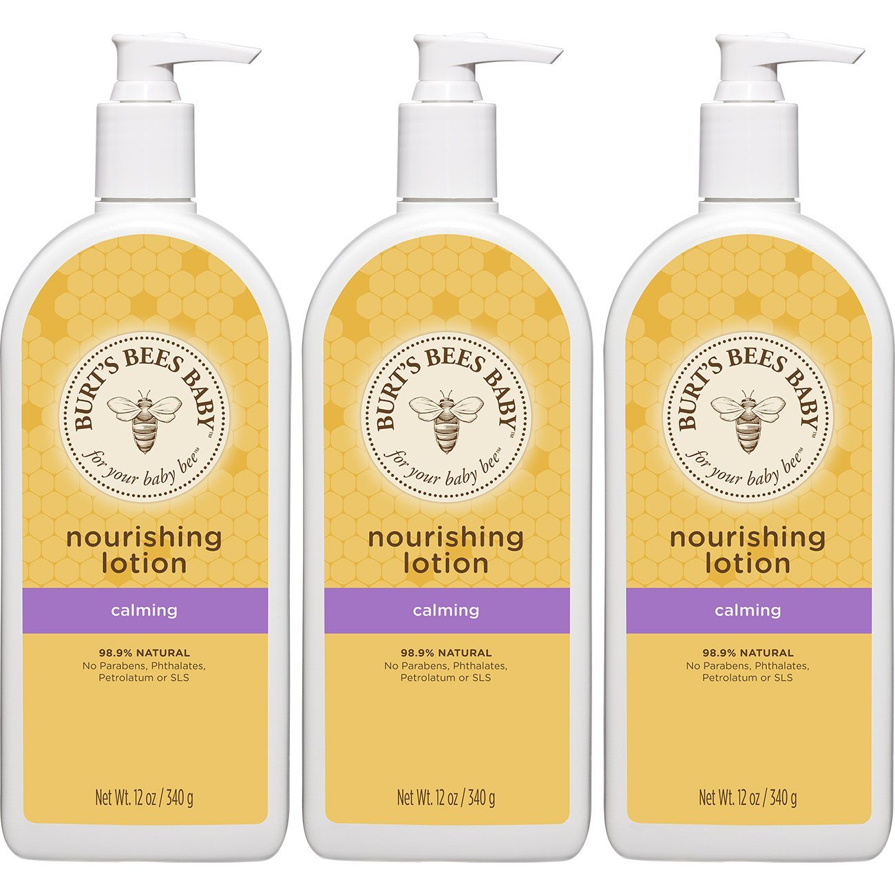 Burt's Bees Baby Nourishing Lotion, Calming Baby Lotion - 12 Ounce Bottle (Pack of 3) by Burt's Bees