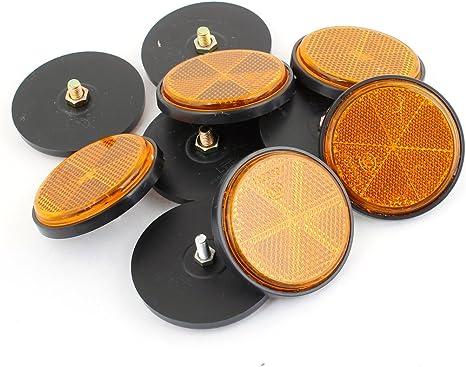 sourcingmap/® 10 Pcs Moto Scooter Plastique Rond R/éflective R/éflecteur Orange