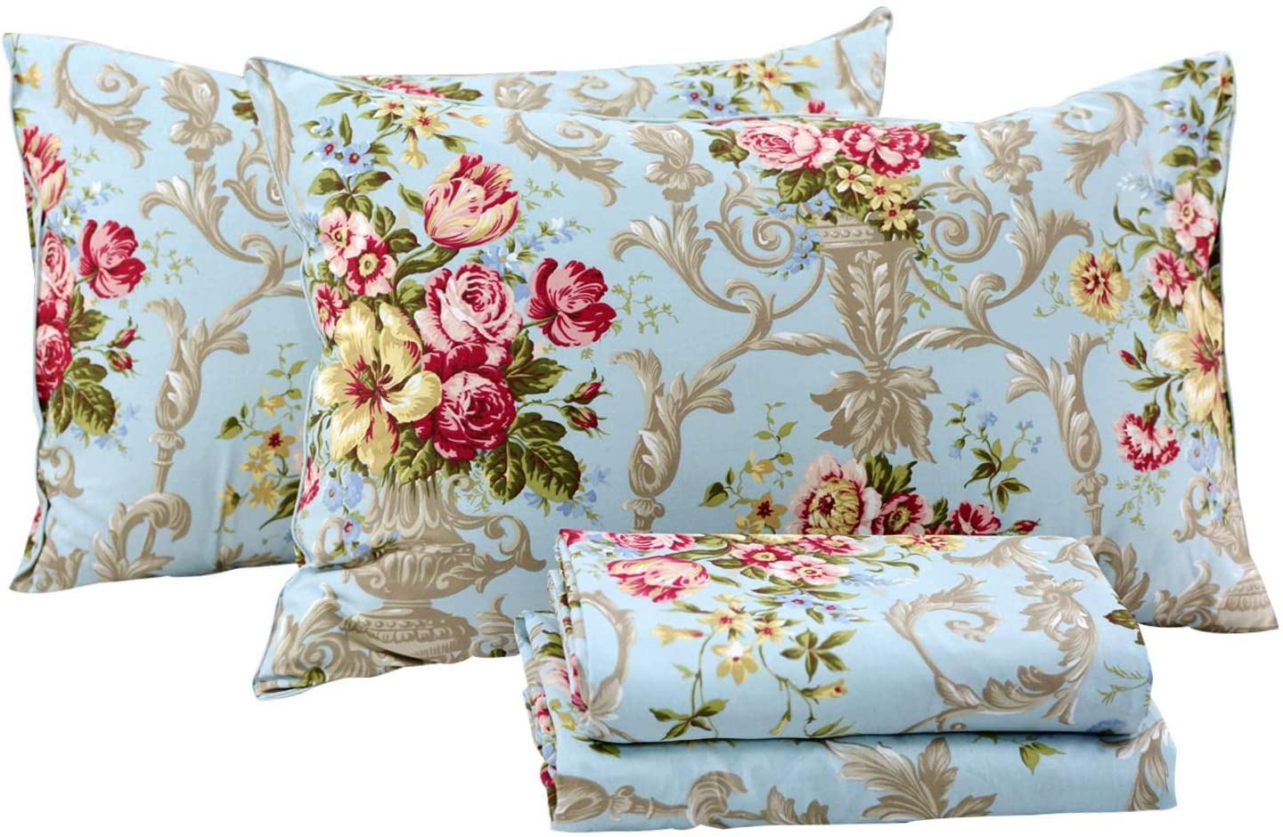 FADFAY Shabby Floral Bedding Elegant Peony Sheets Set Luxury Bedding Collections 800 Thread Count 100% Egyptian Cotton Deep Pocket, 4 Piece-Queen Size