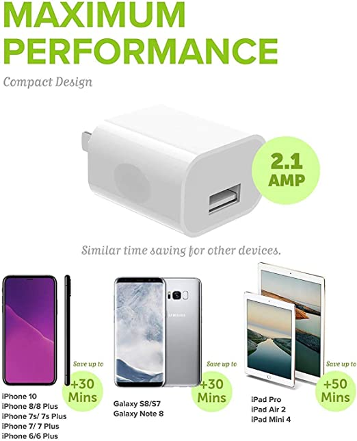 iPhone Charger 2-Pack MFi Certified Boxgear Charging iPhone Lightning Cable and USB Wall Adapter Plug Block for iPhone11 Pro, Xs, XS Max, X, 8, 8 ...