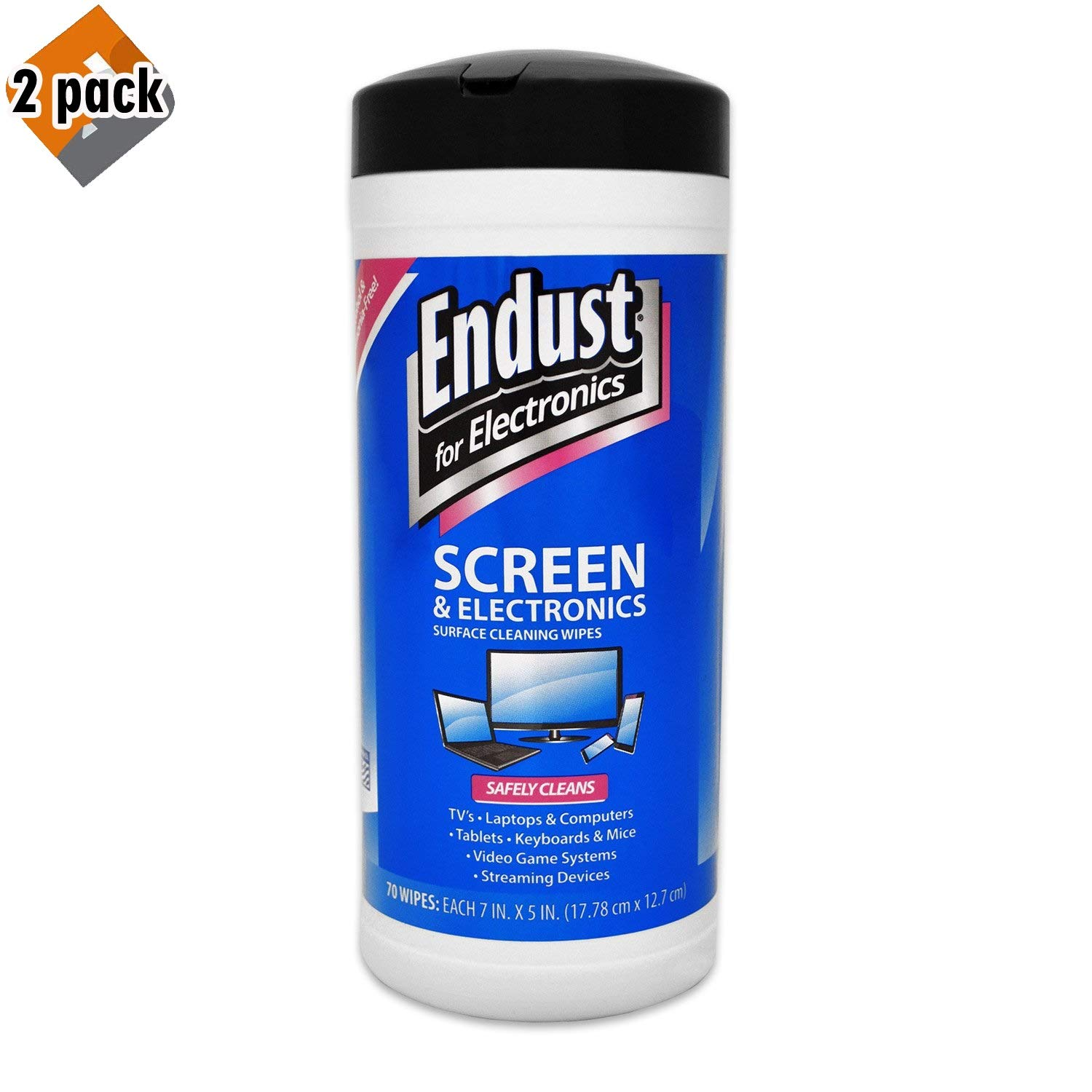 Endust for Electronics, Screen Cleaning Wipes, Surface Cleaning, Great LCD and Plasma Wipes, 70 Count, Pack 2