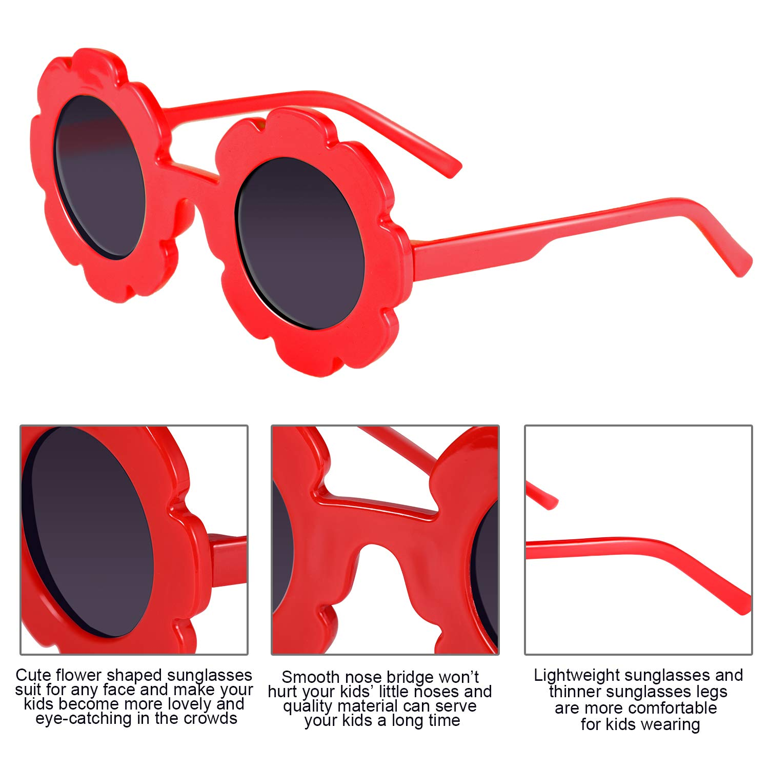 Norme 6 Pairs Kids Sunglasses Round Flower Shape Decorative Glasses for Toddler Boys Girls