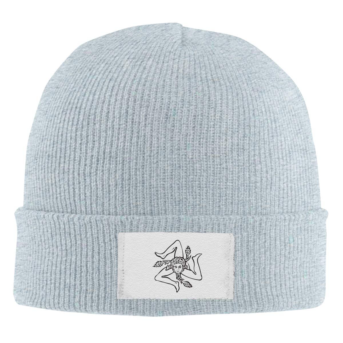 Stretchy Cuff Beanie Hat Black Dunpaiaa Skull Caps Sicilian Trinacria Logo Winter Warm Knit Hats