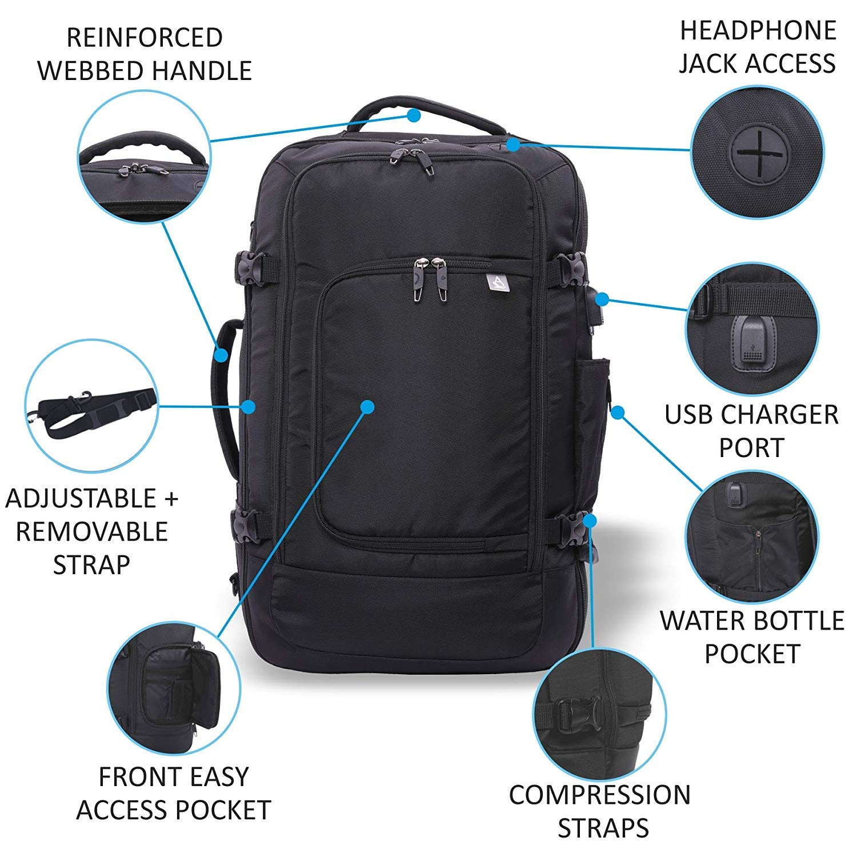 "Aerolite 55x35x20cm 39L Hand Cabin Luggage Backpack Fits 15/"" Laptop 55x35x20 Carry On Rucksack Satchel Holdall Travel Daypack Flight Bag Black"