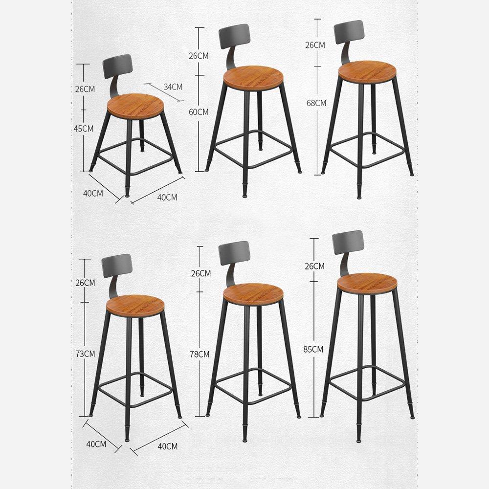68CM XJRHB Iron Solid Wood Bar Chair, Bar Stool Chair Simple High Bar Chair High Stool High Chair Bar Stool Bar Chair Back Front Chair (Size   45CM)
