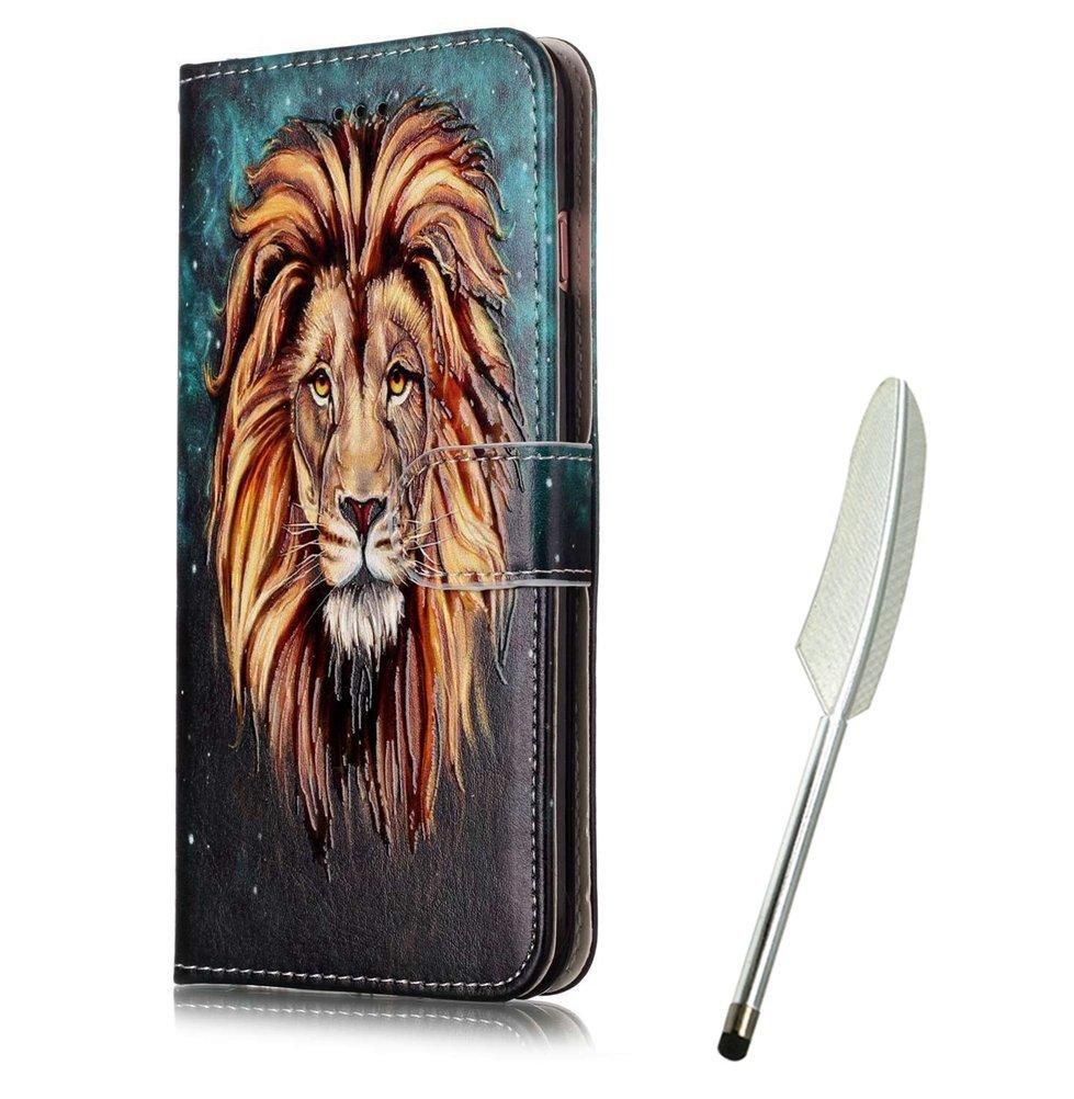 iPod Touch 5 Flip Case mit Tiger, Edaroo Handyhülle iPod Touch 5/6 PU Leder Flip Wallet Cover in Book Style Stand Case Card Slots Handytasche Ledertasche Schutzhülle Tasche Karteneinschub und Magnetverschluß Kratzfestes und Schmutzunempfindliches für iPod