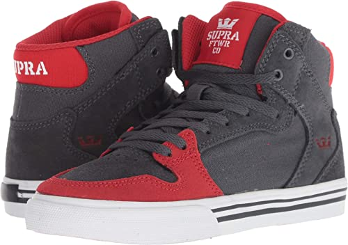 5a533afd216 Supra Kids Boy's Vaider (Little Kid/Big Kid) Dark Grey/Risk Red