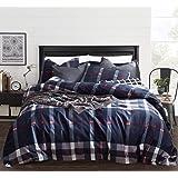 CLOTHKNOW Navy Plaid Bedding Duvet Cover Set Queen Cotton Geometric Tartan Bedding Sets Full Mens Boys Teen Bedding Queen 3Pc