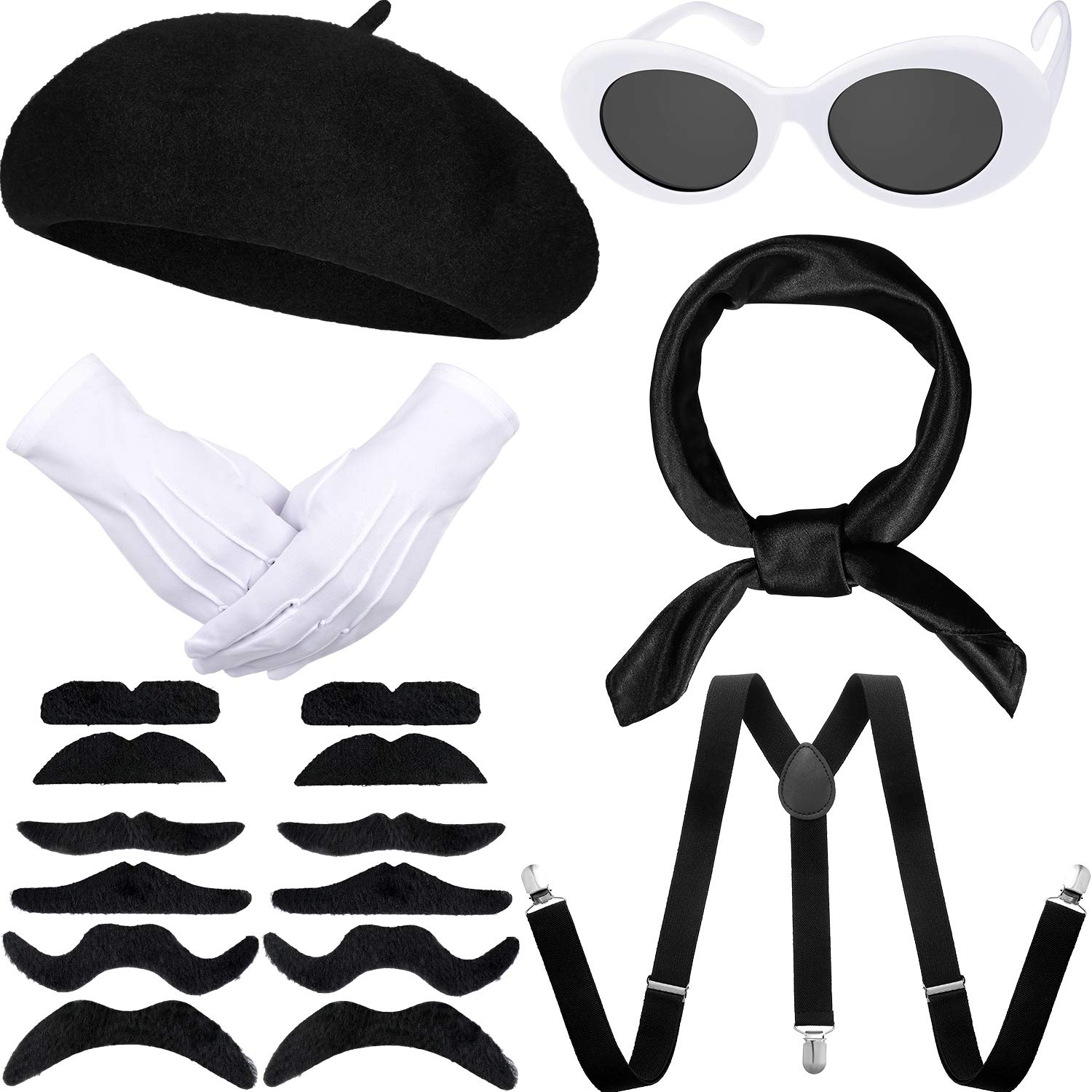 Women Girls French Themed Party Beret Hat Chiffon Scarf Gloves Retro Oval Sunglasses Fancy Dress Costume Accessories Set