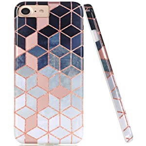 JAHOLAN Bright Rose Gold Cube Design Clear Bumper Glossy TPU Soft Rubber Silicone Cover Phone Case Compatible with iPhone 7 iPhone 8 iPhone 6 6S