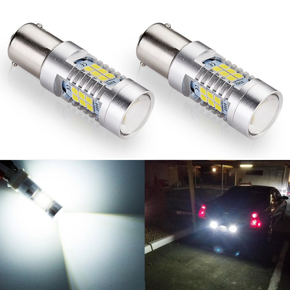 ENDPAGE 1156 1003 1141 7506 BA15S LED Bulb 2-pack, Xenon White 6000K, Extremely Bright, 21-SMD with Projector Lens, 12-24V, Works as Back Up Reverse Lights, Tail Brake Lights, Turn Signal Blinkers
