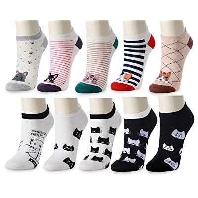 10 Pairs Novelty Cat Socks for Women - Thin Causal Women and Girls Fun Low Cut Cotton Socks at Amazon Women's Clothing store