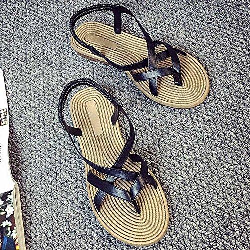 Zapato Plano Mujer, Culater Sandalias de Verano Outdoor Open Toe Negro