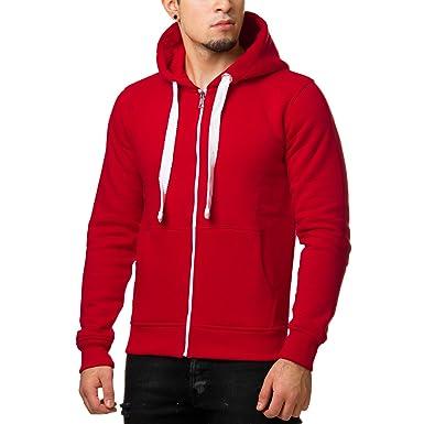 Young Rich Herren Hoodie Long Oversized Zipper Sweatshirt Schwarz Weiß Grau  Anthrazit Rot Blau 901, Größe 5b8c47f94a