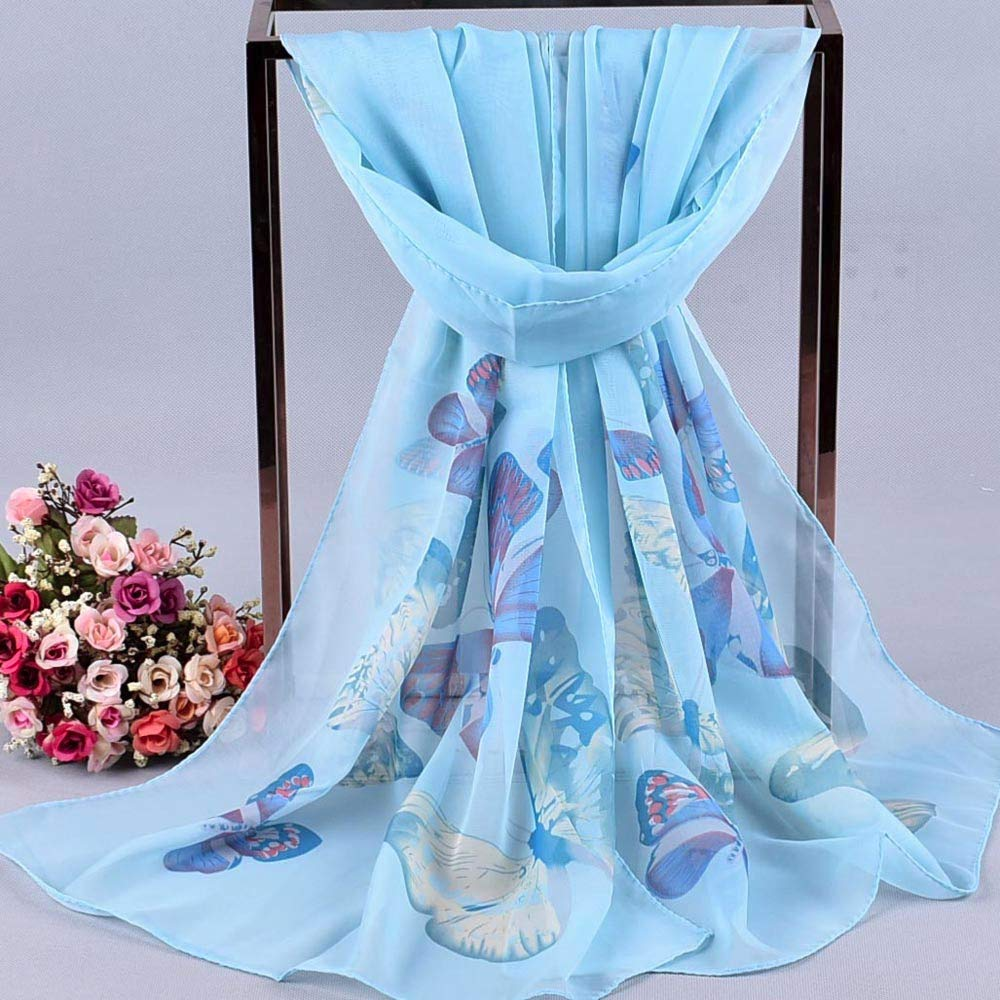 4Clovers Lightweight Scarf for Women Fashion Butterflies Printing Fall Winter Warm Scarves Shawl Wraps