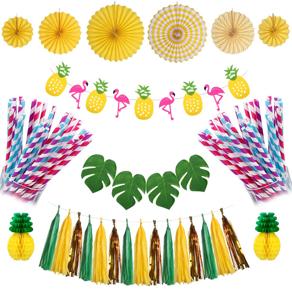 Antner Summer Party Decorations Kit Flamingo Pineapple Banner Paper Tassels Paper Flower Fan Tropical Palm Leaf for Hawaiian Luau Jungle Beach Party Decor by Antner
