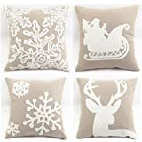 """WOMHOPE 4 Pcs - 18"""" Canvas Cotton Embroidery Throw Covers Christmas Throw Covers Square Throw Pillow Covers Cushion Cover Pillowcase for Sofa,Bed (B (Set of 4) Griege)"""