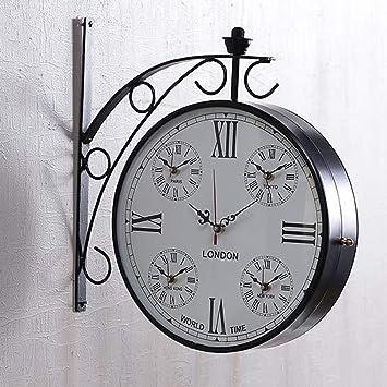 Buy 5 in 1 World Time Clock Retro Vintage Wall Clock Hanging Roman