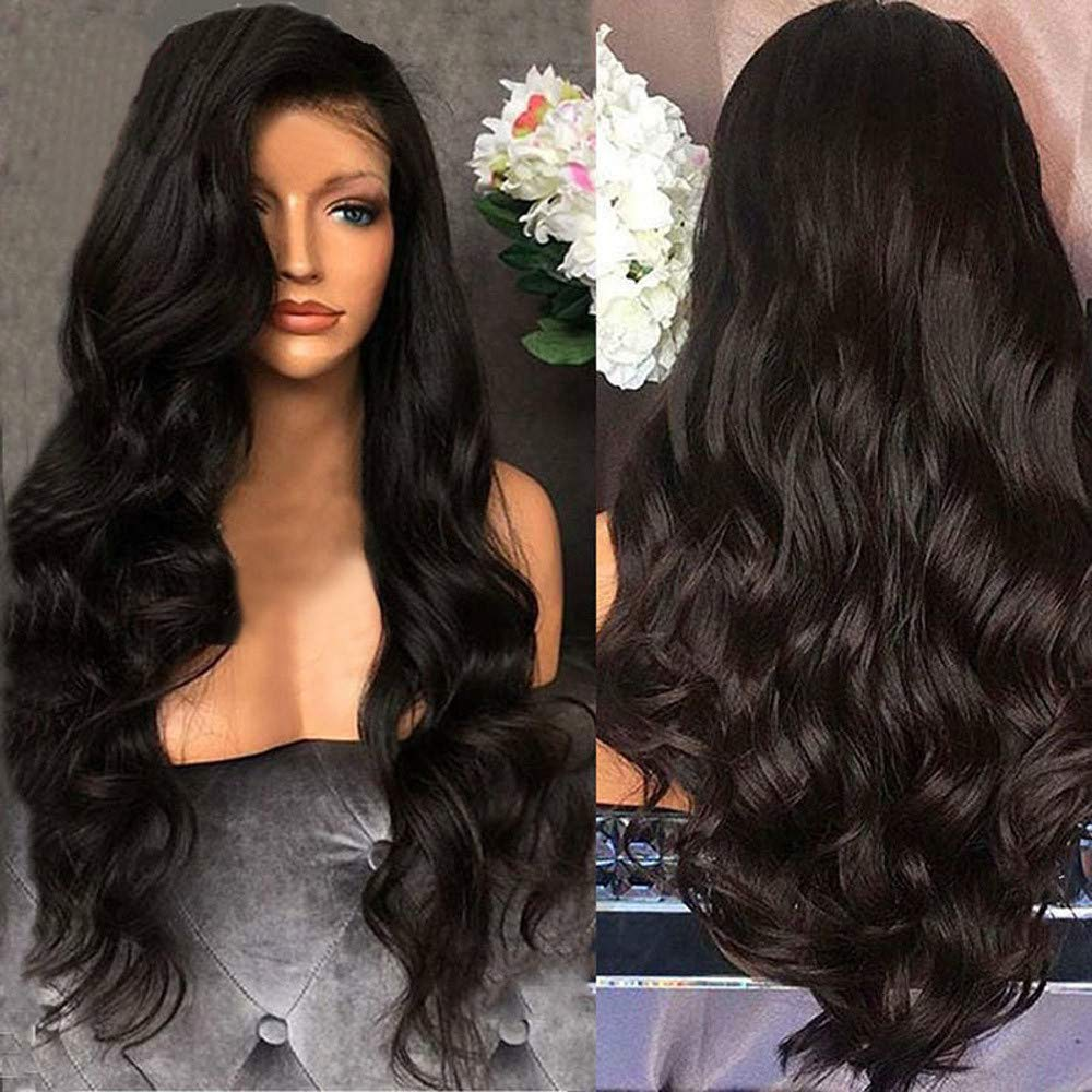 AMOUSTORE Wig Long Black Curly 26-Inches Wigs Costume for Women