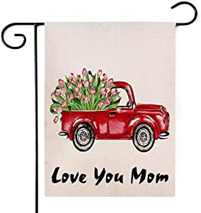 """Deloky Mother's Day Outdoor Garden Flag - 12""""×18"""" Double-Sided Tulips Flower House Red Truck Burlap Yard Flag,Garden Banner for House Outdoor Decoration(Love You mom)"""