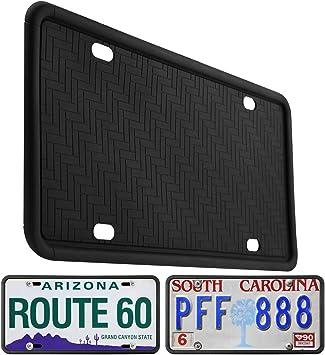 Black 9 Drainage Holes Rain-Proof Anti-Rust Anti-Rattle Silicone License Plate Holder for Car Kribin License Plate Frame