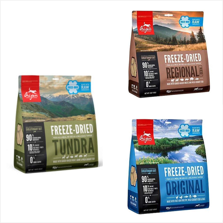 Orijen Freeze Dried Dog Food, 3 Pack (1 Tundra, 1 Original, 1 Regional Red) 16 Ounces Each.