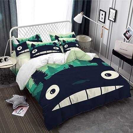 Copripiumino Totoro.Realin Set Copripiumino Totoro Biancheria Letto Carino Famiglia Di