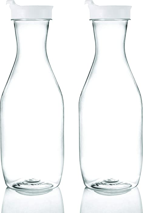 Plasticpro Clear Plastic Premium Water or Beverage Pitchers Heavy Duty Beverage Containers with Lids for Restuarants, Party's, or Schools 50 ounce Pack of 2