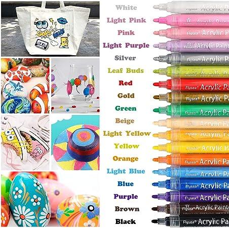 Acrylstifte Marker 18 Farben Stifte Set Acrylic Painter Filzstift DIY Steine Neu