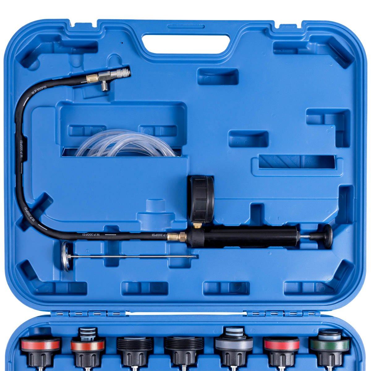 Goplus 28PCS Universal Radiator Pressure Tester Leak Checker Vacuum Type Cooling System Automotive Radiator Pressure Test Kit Purge and Refill Kit Set w/Carrying Case by Goplus (Image #5)