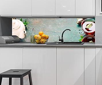 Cocina Pared Trasera Té con Menta, Jengibre y limón Design M0834 210 x 60 cm (W ...