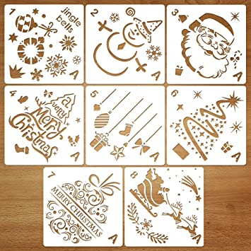 Christmas Stencils For Wood.Coogam 8 Pcs Christmas Stencils Template Reusable Plastic Craft For Art Drawing Painting Spraying Window Glass Door Car Body Wood Journaling