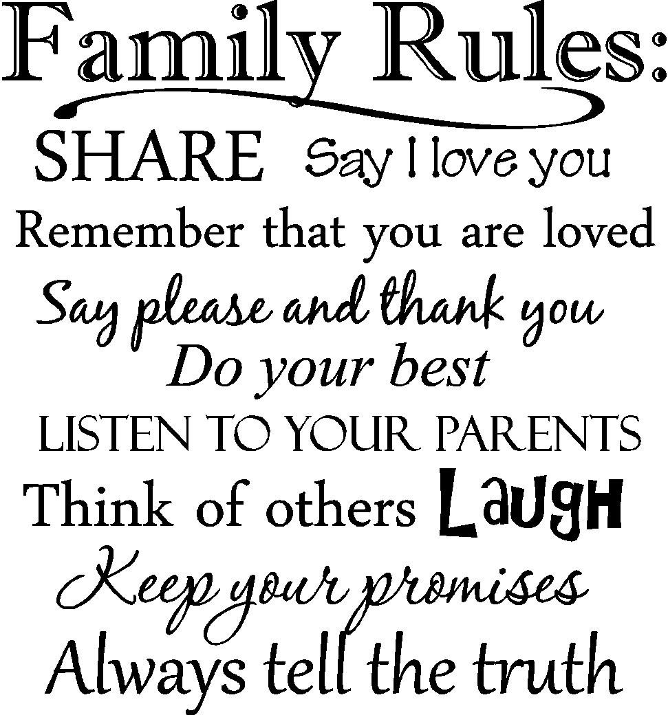 "Amazon Epic Designs "" Family Rules Say I love you Remember that you are loved Say please and thank you Do your best Listen to your parents"