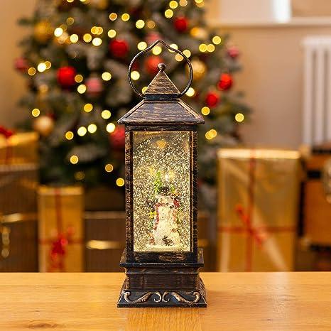 Christmas Lantern.Christow Water Filled Christmas Lantern Glitter Spinner Led Snowman Lamp Light