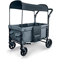 WonderFold Multi-Function 2 Passenger Push Folding Stroller Wagon, Adjustable & Removable Canopy, Double Seats with 5-Point Harness (Smoky Gray)