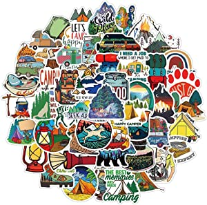 Outdoor Stickers for Water Bottle 50pcs, Waterproof Vinyl Adventure Hiking Canmping Stickers for Adults Teens, Wilderness Nature Decals for Laptop Bike, Outdoor Gifts