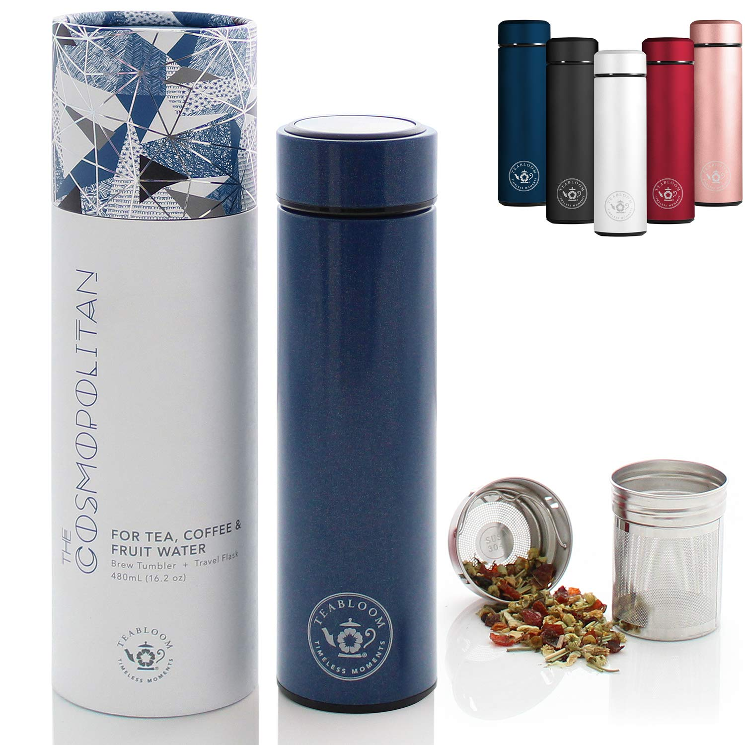 Teabloom All-Purpose Beverage Tumbler - 16 oz - 480 ml - Brushed Metal Insulated Water Bottle/Tea Flask/Cold Brew Coffee Mug - Extra-Fine Two-Way Infuser Travel Bottle - Night Blue