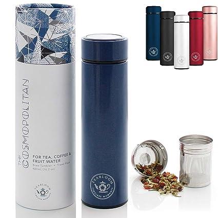 Teabloom Vaso De Bebidas Multiusos - 480 Ml/Botella De Agua con Aislamiento De Metal Cepillado - Vaso De Té - Botella De Viaje - Máquina para Hacer ...