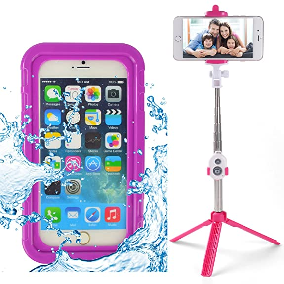Selfie Stick Bluetooth and Waterproof Hard Crystal Case for Moto XT1644 / Moto G Play /