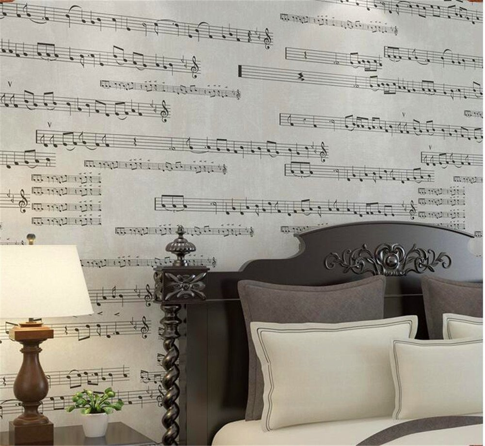 Qxlml Music Wallpapers American Retro Streets Patterns Wallpaper Electric Guitar Plan Diagram Drawing Living Room Tv Background 10 053 M Color Gray