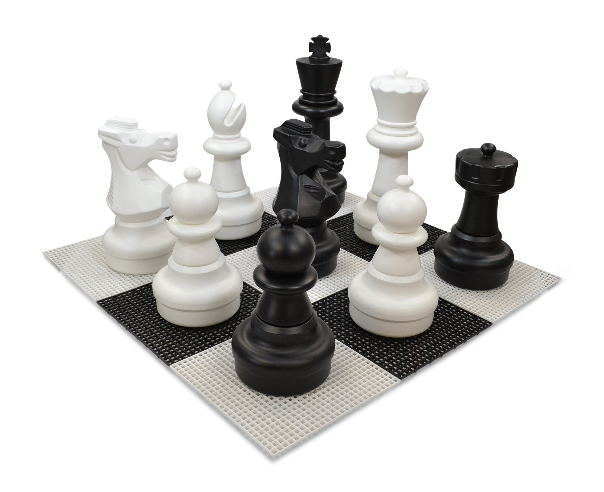 MegaChess 25 inch Tall Complete Giant Plastic Chess Set with 10 Foot x 10 Foot Giant Plastic Board