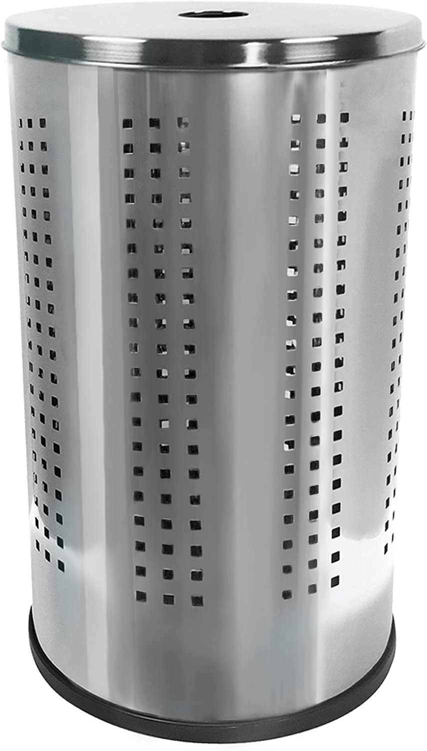Krugg Stainless Steel Laundry Bin & Hamper | 46L Ventilated Stainless Steel Clothes Basket with Polished Lid Life Time Warranty| (Polished Stainless Steel)