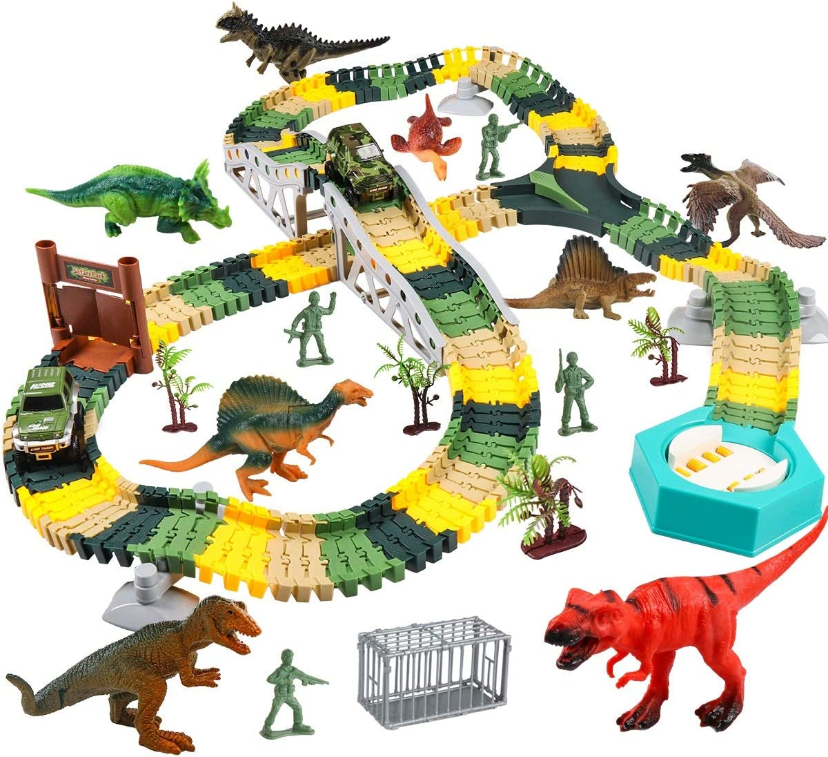 Meland Dinosaur Race Track Car Toy Set - 215 Pcs Flexible Train Tracks Kids Gift Playset Toys for 3 4 5 6 Year Old Boys with 4 Dinosaurs, 2 Race Cars, 4 Soldiers