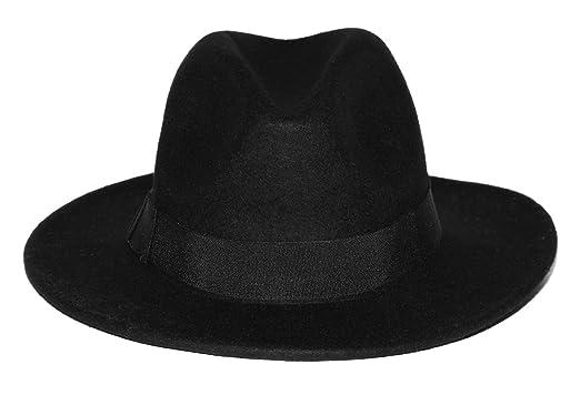 eb73bc18 Accessoryo Unisex Black Fedora Hat with Black Trim and Bow: Amazon.co.uk:  Clothing