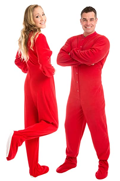a73d77e848 Big Feet Pajama Co. Red (201) Micro-polar Fleece Adult Footed Pajamas