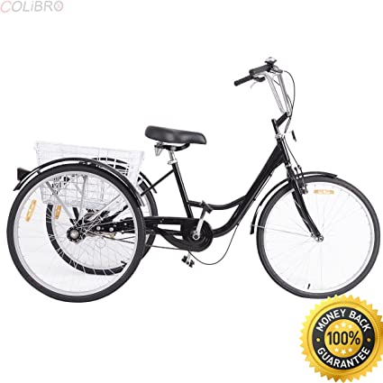 """7b4aef0b593 COLIBROX--26"""" Single Speed 3-wheel Bicycle Adult Tricycle Seat Height  Adjustable"""