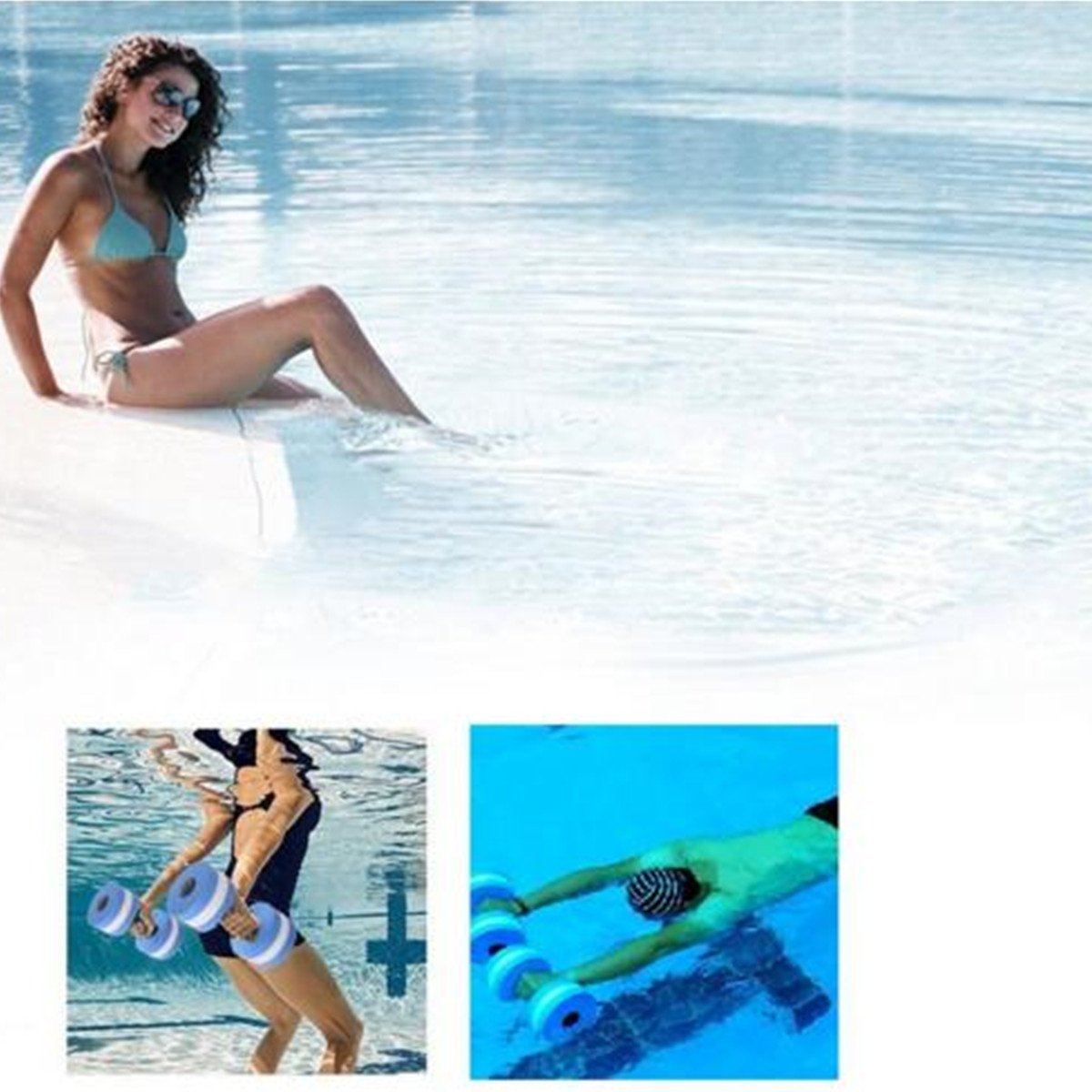 verisa agua ejercicio aeróbico espuma mancuernas piscina resistencia 1 par, equipo de Fitness ejercicios de agua para pérdida de peso azul - 1 par - 3 ...
