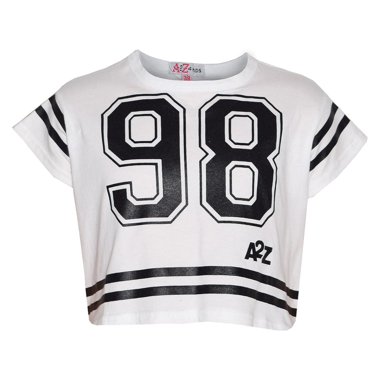 A2Z 4 Kids Girls Top Kids 98 Print Stylish Fashion T Shirt Crop Top 7-13 Year