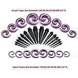 JOVIVI Lot 16 Paires Cone Plug Acrylic + Ecarteur d'Oreille Expander en Forme d'Escargot (violet)